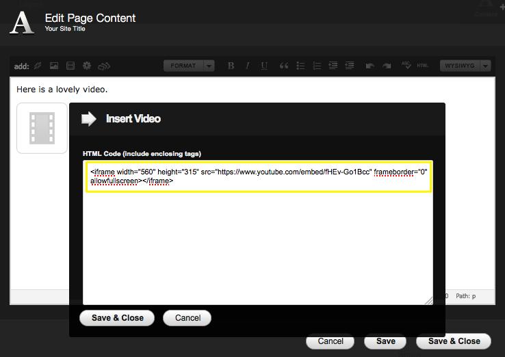 Adding videos – Squarespace5